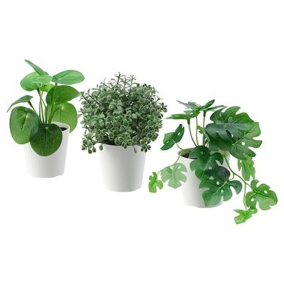 FEJKA 菲卡 人造盆栽带花盆,3件套, 室内/户外 绿色, 6 厘米