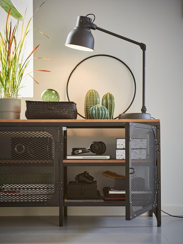 FJÄLLBO 耶伯 电视柜, 黑色, 150x36x54 厘米