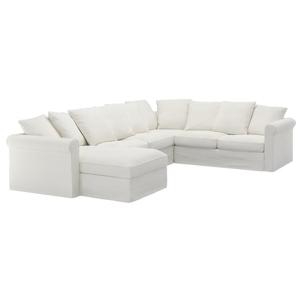 格罗恩里德 五人转角沙发, 带贵妃椅/格雷伯 白色