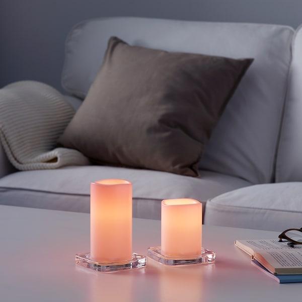 古达夫顿 LED烛灯 室内/户外,两件套 电池操作 粉红色