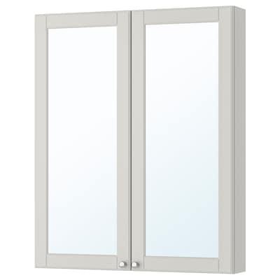 GODMORGON 古德莫 双门镜柜, 卡雪恩 淡灰色, 80x14x96 厘米