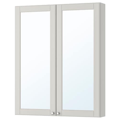 古德莫 双门镜柜 卡雪恩 淡灰色 80 厘米 14 厘米 96 厘米