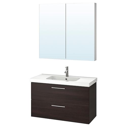 古德莫 / 奥登维 浴室家具,4件套 黑褐色/DALSKÄR 达斯卡 水龙头 103 厘米 60 厘米 49 厘米 89 厘米