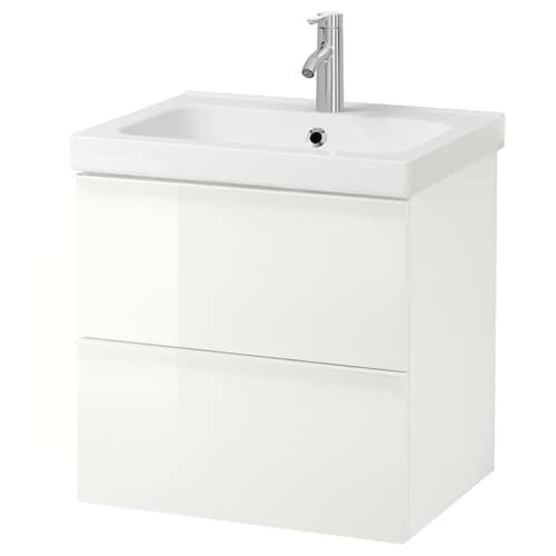 古德莫 / 奥登维 双屉洗脸池柜 高光 白色/DALSKÄR 达斯卡 水龙头 63 厘米 60 厘米 49 厘米 64 厘米