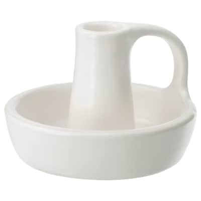 GODTAGBAR 古德塔巴尔 烛台, 陶瓷 白色, 8 厘米