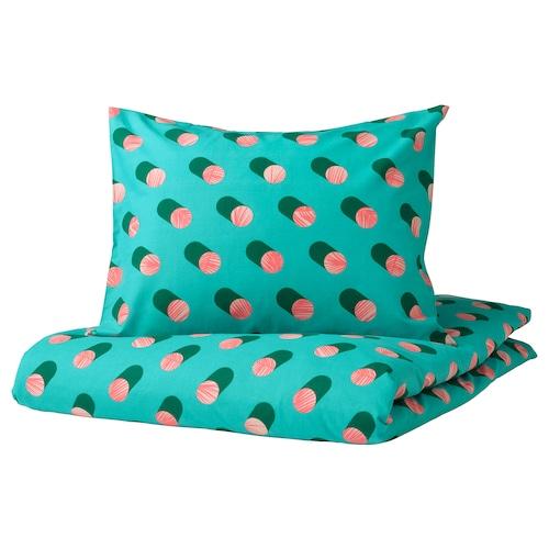 格拉希思 被套和枕套 带有圆点/粉红色 天蓝色 200 厘米 150 厘米 50 厘米 80 厘米