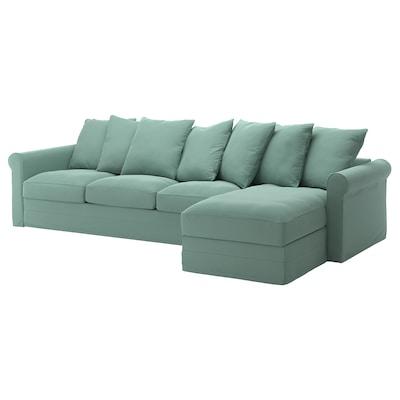 GRÖNLID 格罗恩里德 四人沙发, 带贵妃椅/利恩金 浅绿