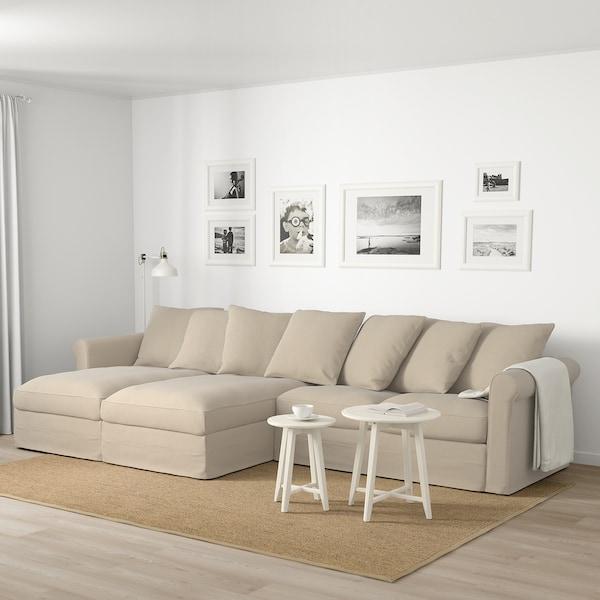 GRÖNLID 格罗恩里德 四人沙发, 带贵妃椅/斯波达 自然色