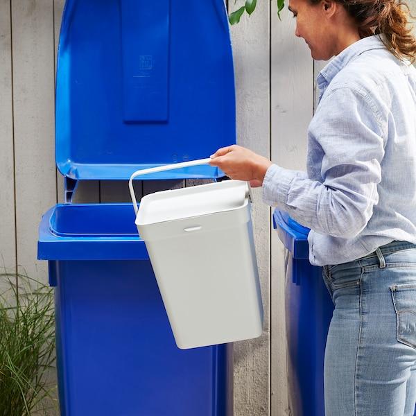 HÅLLBAR 哈尔巴 附盖垃圾桶, 淡灰色, 22 公升