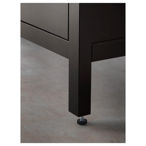 汉尼斯 / 奥登维 双屉洗脸池柜, 着黑褐色漆/RUNSKÄR 兰斯卡 水龙头, 103x49x89 厘米