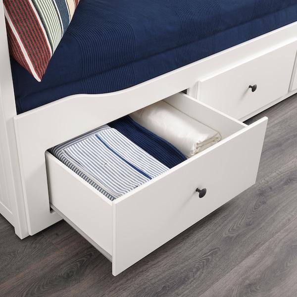 汉尼斯 坐卧两用床,带3个抽屉/2个床垫, 白色/胡斯维卡 硬型, 80x200 厘米