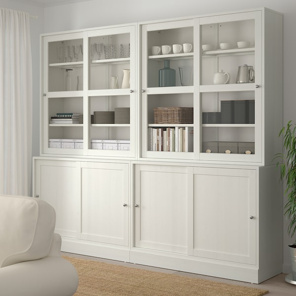 海思塔 玻璃滑门储物柜 白色 242 厘米 47 厘米 212 厘米 32 公斤