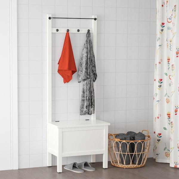 HEMNES 汉尼斯 储物长凳带毛巾杆/4个挂钩, 白色, 64x37x173 厘米