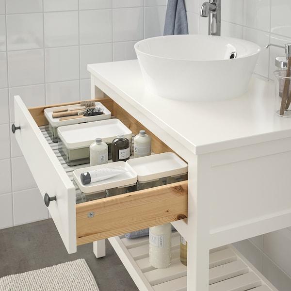 HEMNES 汉尼斯 / KATTEVIK 卡特维克 开放台面洗脸池柜+池, 白色/VOXNAN 沃斯南 水龙头, 82x48x91 厘米