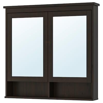 HEMNES 汉尼斯 双门镜柜, 黑褐色, 103x16x98 厘米