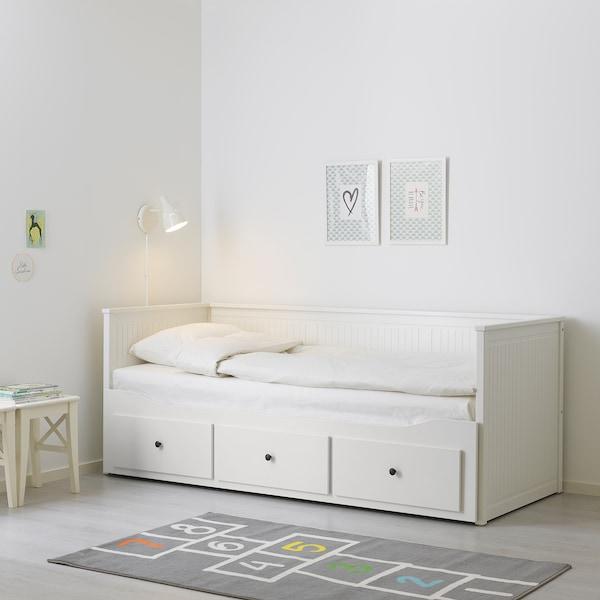 HEMNES 汉尼斯 坐卧两用床,带3个抽屉/2个床垫, 白色/胡斯维卡 硬型, 80x200 厘米