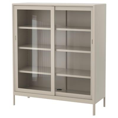 IDÅSEN 伊朵森 柜带玻璃滑门, 米黄色, 120x140 厘米