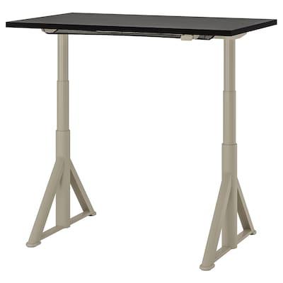 IDÅSEN 伊朵森 坐/站两用式办公桌, 黑色/米黄色, 120x70 厘米