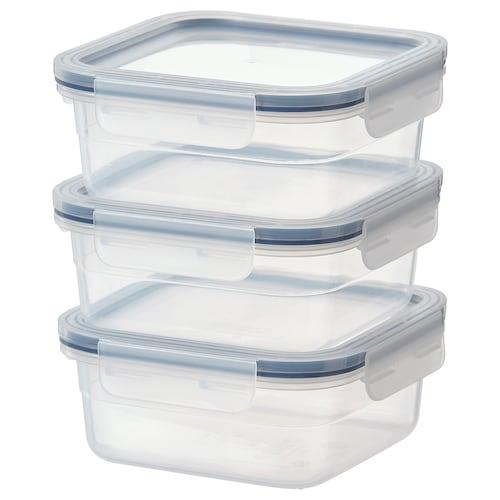 IKEA 365+ 食品盒 正方形/塑料 3 件 15 厘米 15 厘米 6 厘米 750 ml