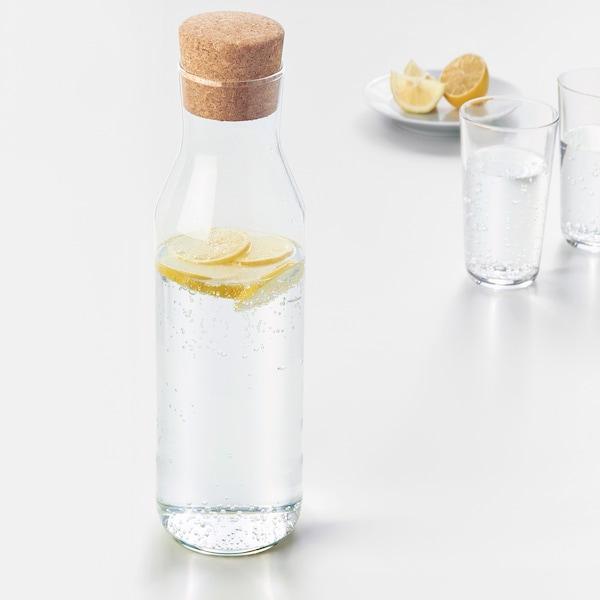 IKEA 365+ 带盖玻璃水瓶, 透明玻璃/软木, 1 公升