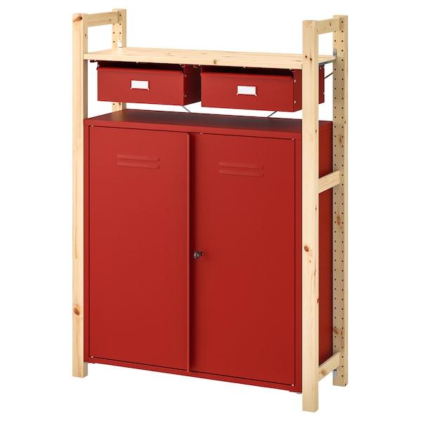 伊娃 搁架单元带柜/抽屉 松木 红色 89 厘米 30 厘米 124 厘米
