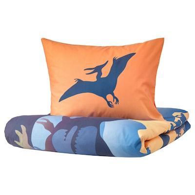 JÄTTELIK 耶特里克 被套和枕套, 日出时的恐龙 橙色/蓝色, 150x200/50x80 厘米