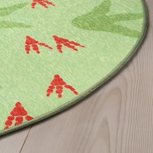 JÄTTELIK 耶特里克 平织地毯, 恐龙足迹/绿色, 100 厘米