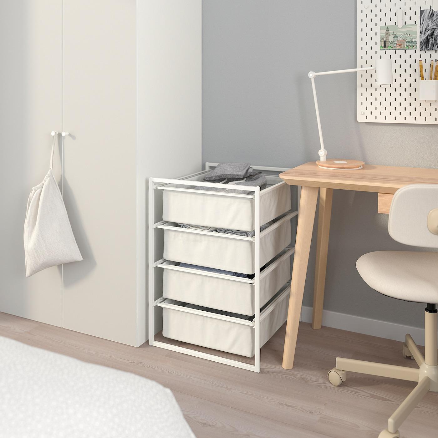 JONAXEL 尤纳赛尔 框架带纺织品篮, 白色, 50x51x70 厘米