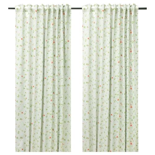 尤尼特 遮光窗帘,两幅 淡米色/小花 250 厘米 145 厘米 2 件