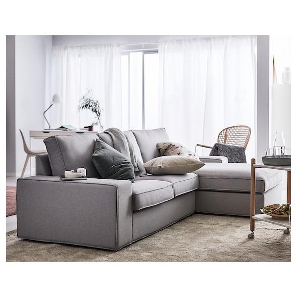 KIVIK 奇维 三人沙发, 带贵妃椅/欧斯塔 淡灰色