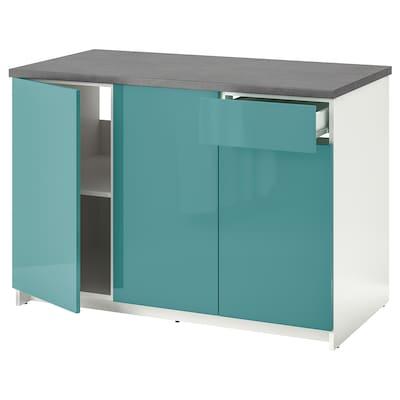 KNOXHULT 诺克胡 底柜,带柜门和抽屉, 高光/蓝青绿色, 120 厘米