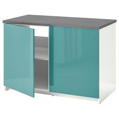 KNOXHULT 诺克胡 底柜和柜门, 高光/蓝青绿色, 120x85 厘米