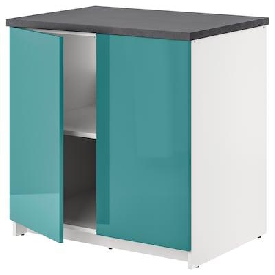 KNOXHULT 诺克胡 底柜和柜门, 高光/蓝青绿色, 80x85 厘米