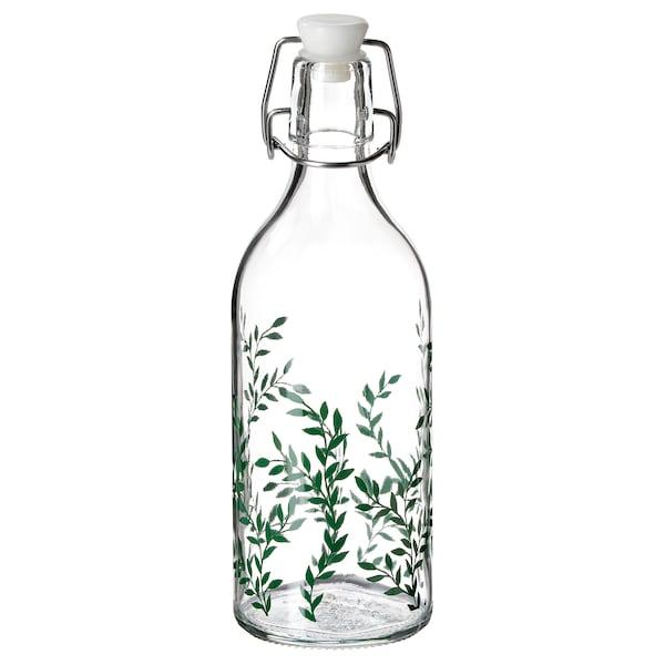 KORKEN 考肯 附塞瓶子, 透明玻璃/图案 绿色, 0.5 公升