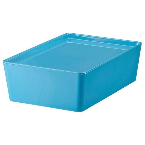库吉斯 附盖储物盒, 蓝色/塑料, 18x26x8 厘米