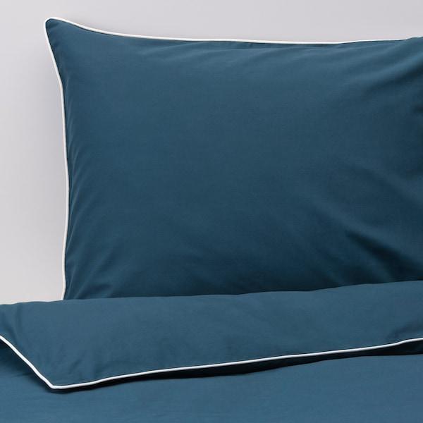 KUNGSBLOMMA 昆布鲁玛 被套和2个枕套, 深蓝色/白色, 200x230/50x80 厘米