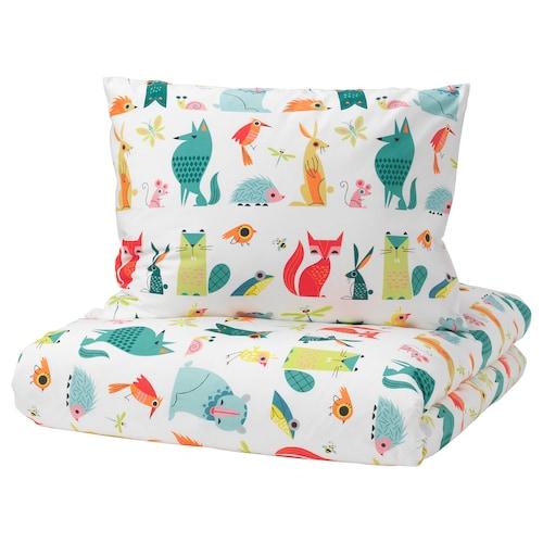拉特奥 被套和枕套, 动物/多色, 150x200/50x80 厘米