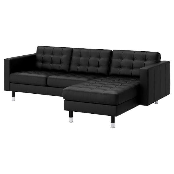 兰德克纳 三人沙发, 带贵妃椅/哥兰/邦斯塔 黑色/金属色