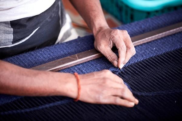 勒伍拉 平织地毯, 手工制作 蓝色, 133x195 厘米