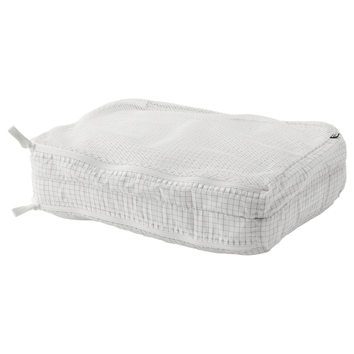 雷恩萨瑞 分隔式衣类收纳袋, 方格图案/白色