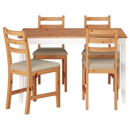 拉罕姆 一桌四椅 浅仿古色 白色漆/维塔丽 米黄色 118 厘米 74 厘米 73 厘米