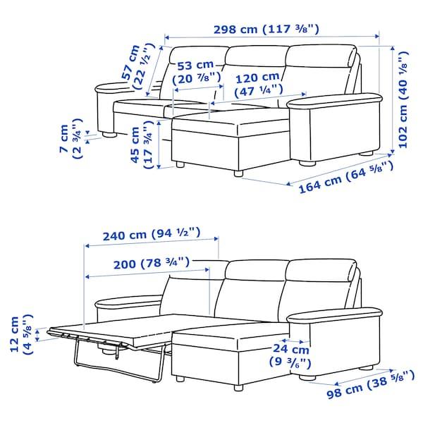 利胡特 三人沙发床, 带贵妃椅/雷德 灰色/黑色