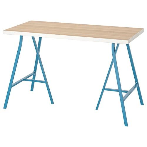 利蒙 / 勒伯格 桌子, 白色 仿白色橡木纹/蓝色, 120x60 厘米