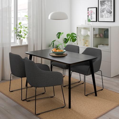 利萨伯 / 托斯贝利 一桌四椅, 黑色 金属/灰色, 140/78 厘米