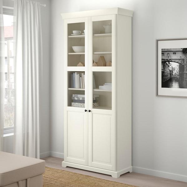 赖尔多 玻璃门书柜 白色 96 厘米 38 厘米 215 厘米 35 公斤