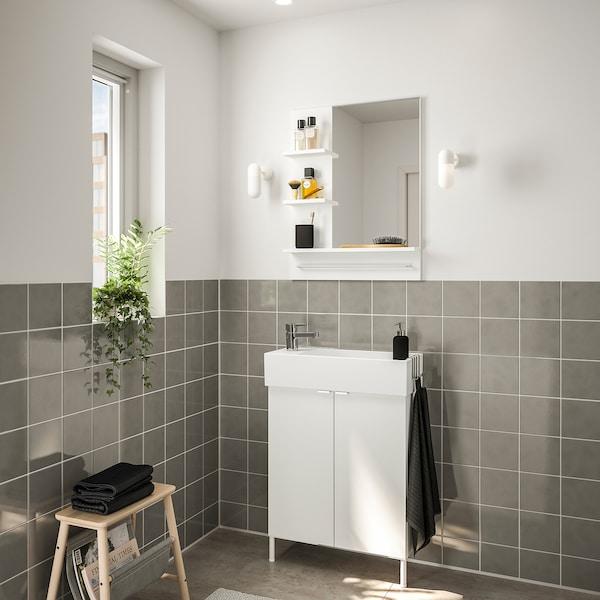 LILLÅNGEN 利兰根 / LILLÅNGEN 利兰根 浴室家具,5件套, 白色/ENSEN 安森 水龙头, 62 厘米