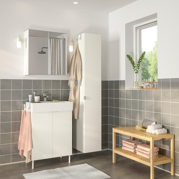 LILLÅNGEN 利兰根 / LILLÅNGEN 利兰根 浴室家具,6件套, 白色/ENSEN 安森 水龙头, 61 厘米