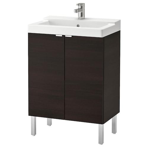 利兰根 / 特维肯 双门洗脸池柜 黑褐色/ENSEN 安森 水龙头 61 厘米 41 厘米 87 厘米