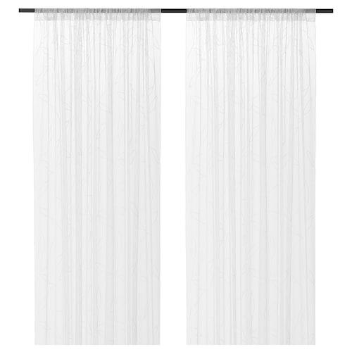 利勒耶德 窗帘,2幅 白色 叶子 250 厘米 145 厘米