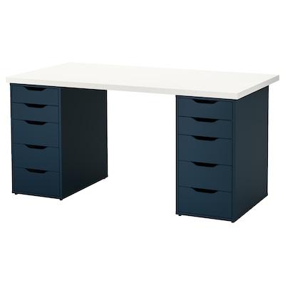 LINNMON 利蒙 / ALEX 阿来斯 桌子, 白色/蓝色, 150x75 厘米